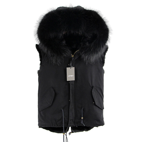 Brand 2019 Winter Jacket Coat Brand New Army Green Women Fur Vest Natural Real Big Raccoon Fur Collar Hooded Outerwear Parka