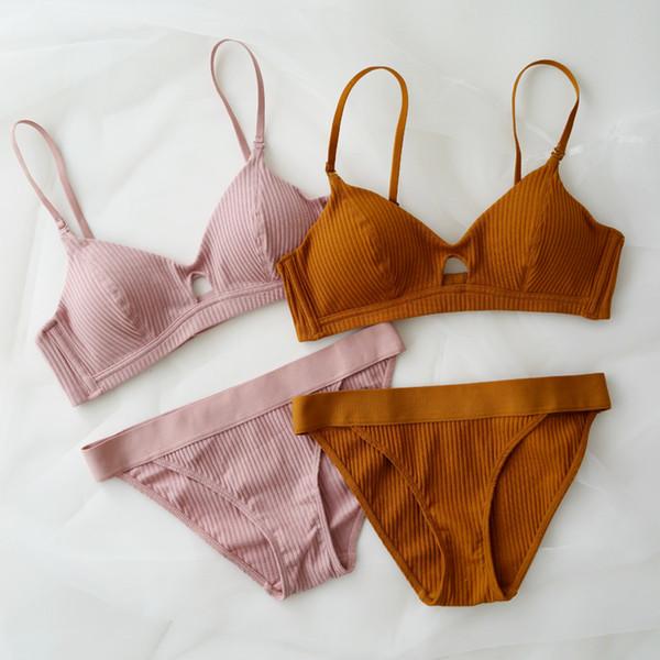 High Quality Cotton Underwear Set Fashion Striped Bra Set Noble Girl Lingerie Set Push Up Bra Sexy Bra And Panty Sets