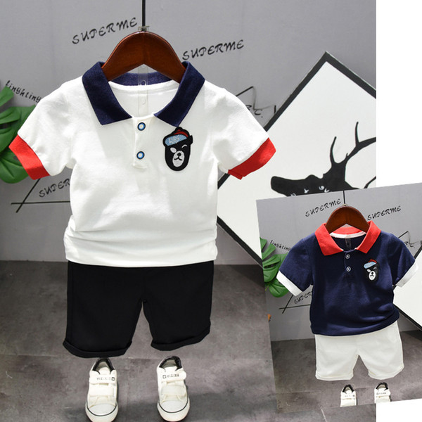 2019 Toddler Boys Clothing Outfit Navy & White Short Sleeve Turn-down T-Shirt+ Shorts Pants Kids Boys Summer Children's Clothes Set