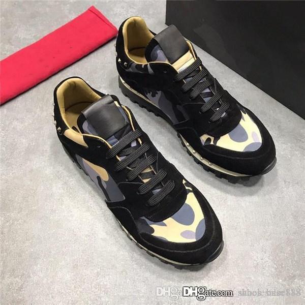 Son Bayan Kamuflaj Spike Çiviler ile Sneakers, klasik Erkek Tasarımcı Sneaker Rahat Ayakkabılar Kırmızı Altları ile kutu Boyutu 35-45