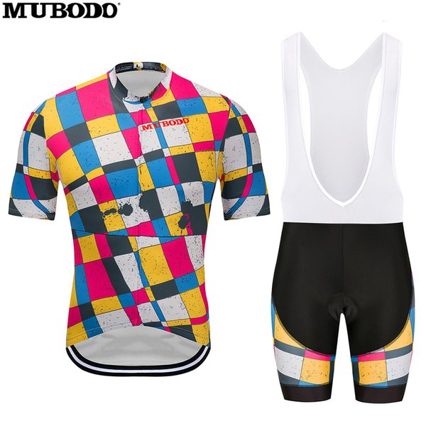 Colorful Diamond Design Cycling Short Sleeves Jersey Wtih Bib Shorts Sets Cycling Clothing Breathable Outdoor Mountain Bike Jersey