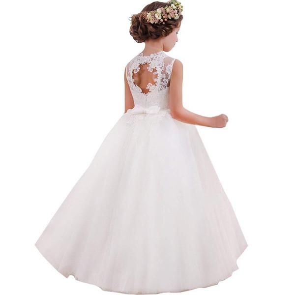 Flower Girls Cute New Brithday White Dress Abiti da sposa in pizzo principessa principessa