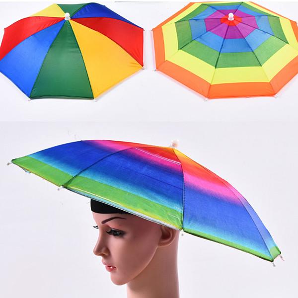 Cappello dell'ombrello di colore dell'arcobaleno Cappello per ombrellone pieghevole per bambini pieghevole per bambini adulti per escursioni di pesca da golf
