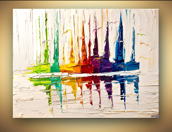 High Quality Handmade Abstract Colorful Sail Boat Paintings Palette Knife Texture Wall Art Contemporary Oil Painting Bedroom Decoration
