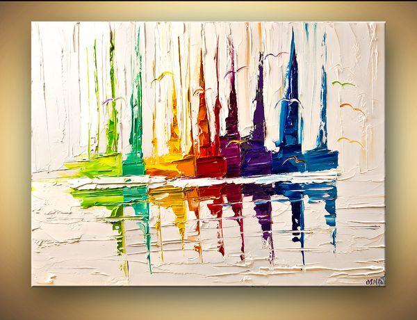 De haute qualité à la main Peinture abstraite colorée VOILIER Couteau à palette Texture mur Art contemporain Peinture à l'huile Décoration Chambre