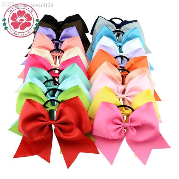 Kız / Women 598 için Toptan-8 İnç Geniş Katı Kızlar Amigo Saç Bow Grogren Şerit Cheer Bow Elastik Band at kuyruğu Saç Tutucu