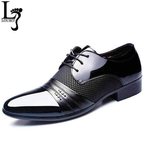 Men's Dress Shoes Fashion Leather Men Business Flat Shoes Black Brown Breathable Men Formal Office Working Shoes Big Size 38-48