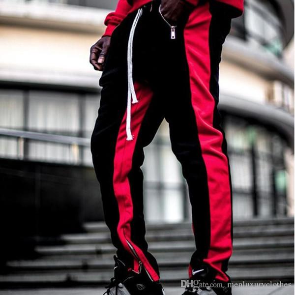 KANYE Moda Casual Mens Calças Basculador Designer Pantalones Cores Patchwork Slim Fit Calças