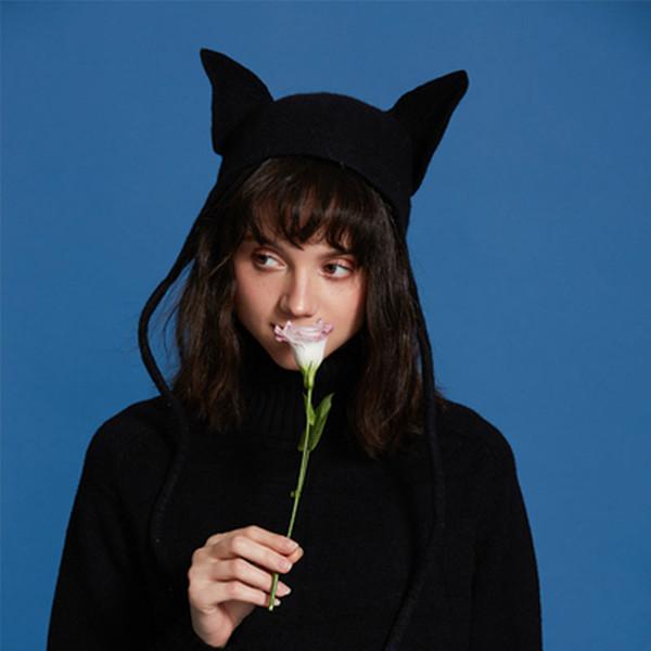 Orecchie sveglie Beret Hat Black Cat donne sexy calda lana protezione di autunno-inverno coreano a mano da donna Beret Cappelli Cappelli Chic dolce di Natale