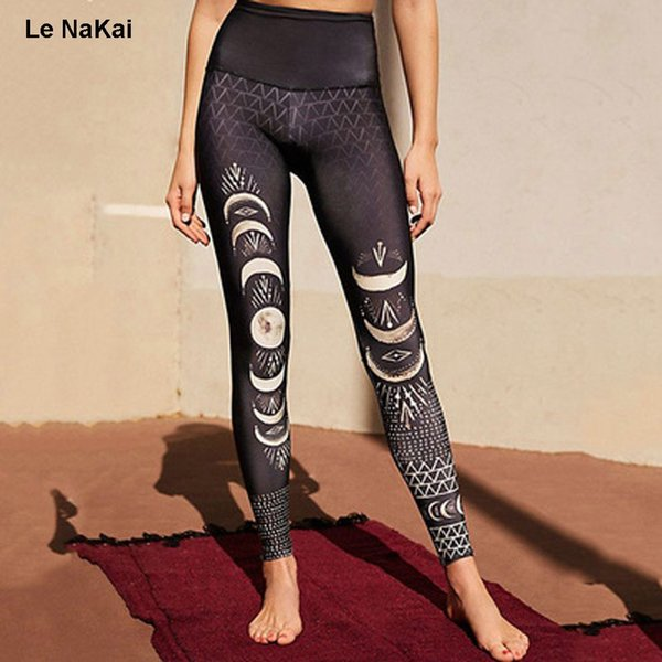 Le NaKai Retro moon eclipse stampa yoga pantaloni luna ombra arte yoga legging nero slim stampa palestra collant allenamento sport pantaloni # 73602