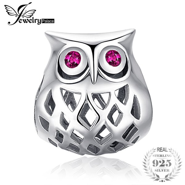 JewelryPalace 925 Sterling Silver Created Ruby Hollow Owl Charm  Fit Bracelets Hot Selling Gift For Women Trendy Jewelry