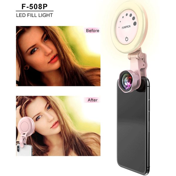 Selfie ring light LED Camera lens with 3 Light Modes 7 Levels of Brightness for iPhone cellphone tablet
