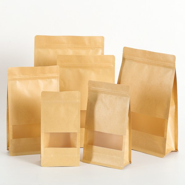 50pcs/lot Brown Zipper Square Kraft Paper Gift Bags Standup Window Packaging Gift Bags Food Coffee Candy Wedding Ziplock Bags