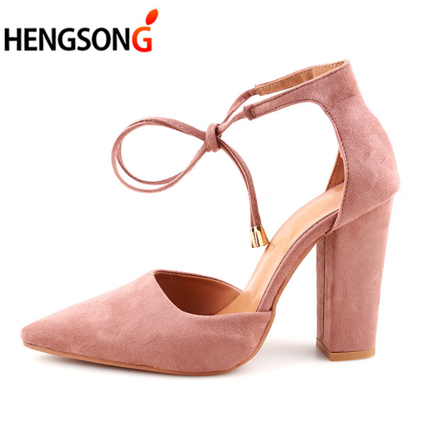 Hengsong 2019 Sexy Retro High Heels Women's Sandals Summer Shoes Ladies Strappy Pumps Thin Air Heels Woman Lace Up Shoes 911519