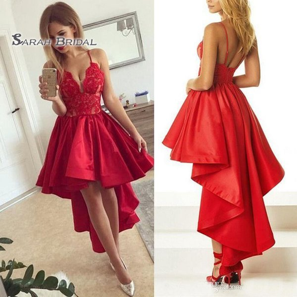 2020 красные дешевые платья выпускного вечера линия вечернее платье возвращения на родину вечерние платья выпускного вечера спагетти привет ло коктейль