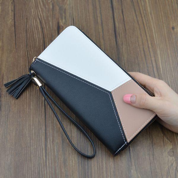 Contraste couleur couture long portefeuille dames d'embrayage femme 2019 nouvelle mode Japon et Corée du Sud grande capacité fermeture à glissière wallet3