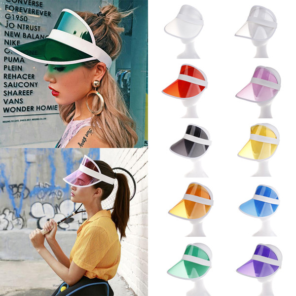 2019 Summer PVC Hat Sun Visor Party Casual Hat Clear Plastic Adult Sunscreen Cap Fashion Outdoor Sports Hats Women Ladies