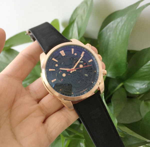 Designer Hollow Watch 55mm 316L Steel Leather Band Quartz Movement Cheap For Man Birthday Christmas Gift