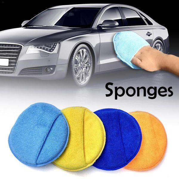 Esponja de cera para automóviles redondos de alta densidad de gran tamaño 17 cm Microfibra Overlock Lavado de autos Esponjas de limpieza para pulir J3
