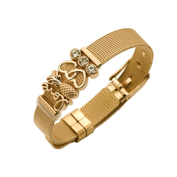 Bracelet en maille d'acier inoxydable serti de bracelet à breloques en forme de coeur pour cadeaux femme