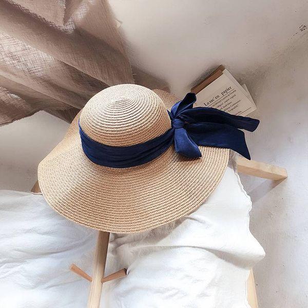 98b38df42b2e1e Bow visor Caps Woman Sunscreen Out Travel Wild Beach Hat Summer Seaside  Foldable Big Straw Hat