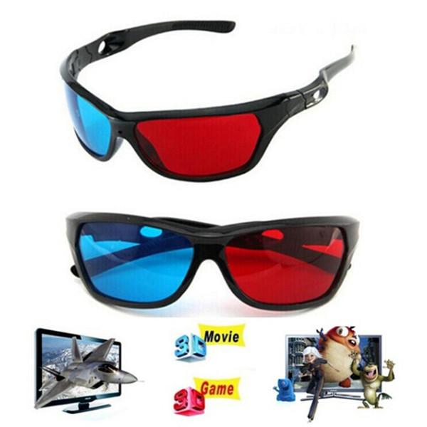 Evrensel 3D Plastik Gözlük Boyutlu Anaglyph TV Movie DVD Için Kırmızı Mavi Siyah Çerçeve DVD Oyunu