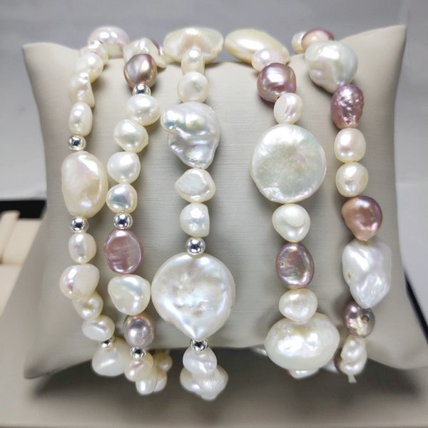 Freshwater Pearl Bracelet for Women Baroque pearl Bracelet Elastic Bracelet for wedding Handmade Christmas Gift Fashion Jewelry