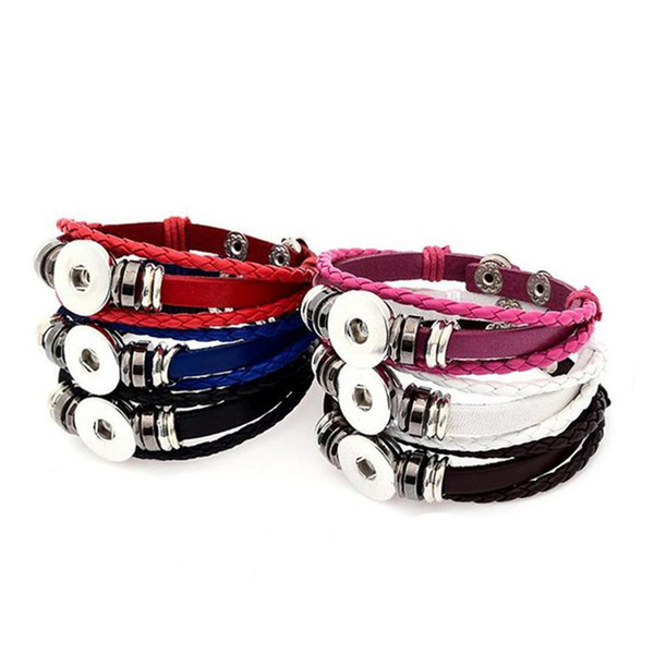 20 MM DIY Mehrschichtige Leder Noosa Chunk Metallknopf Armband DIY Ingwer Druckknopf Erklärung Schmuck 5 Farbe