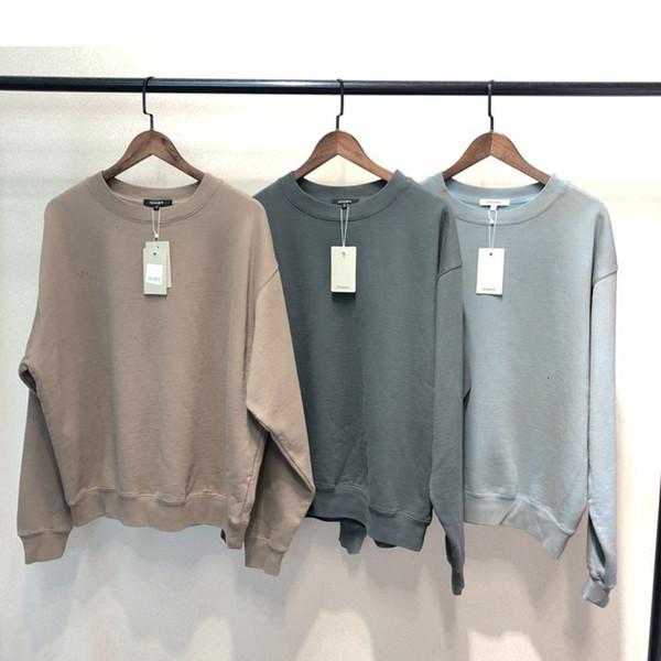 SEASON6 Round-neck Loose Sweatshirts Kanye West 2019 Hip Hop Solid Colors Men Sweatshirts Cotton Vintage Harajuku Loose Unisex V191105