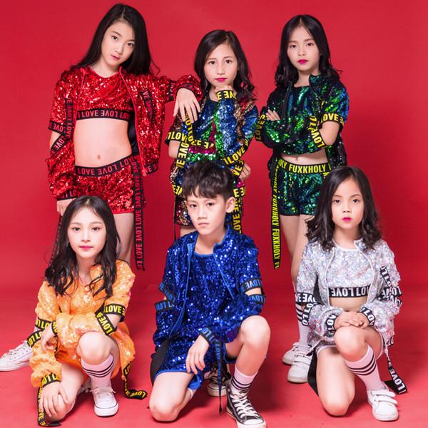 Enfants Jazz Danse Paillettes Garçons Filles Danse De La Rue Danse Costume Hip Hop Pour Enfants Gilet Shorts Catwalk Marée Performance Vêtements Costumes