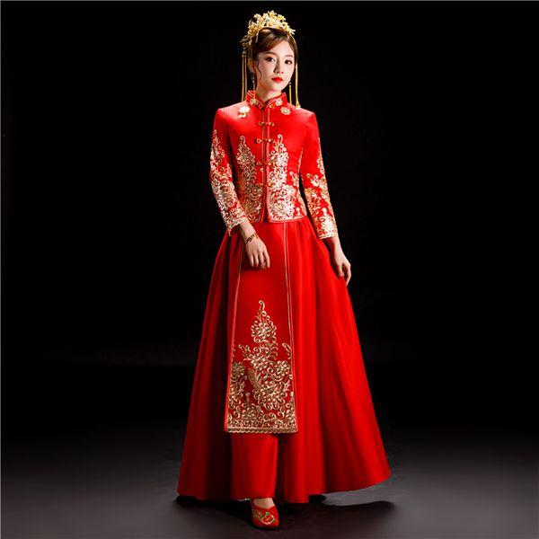 TS956 Sposa Abito da sposa Costume tradizionale cinese di stile Cheongsam Ricamo Abbigliamento Luxury Royal Royal Red Qipao Gown