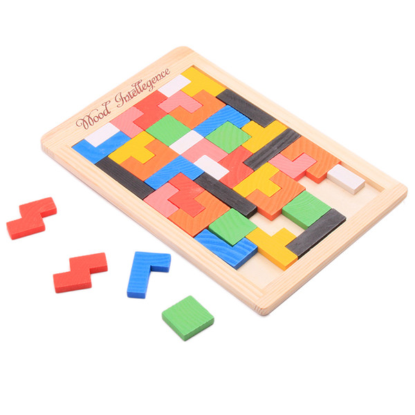 Wooden Colorful Tangram Brain Teaser Puzzle Toys Tetris Puzzle Game Children Intellectual Educational Jigsaw Puzzles Toy Gift