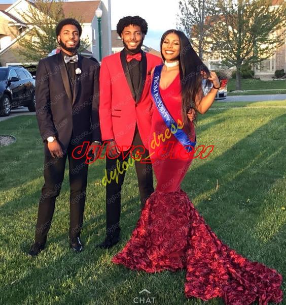 2019 sexy elegant arabic long plus size mermaid evening gowns red formal dress vestidos de fiesta black girl african prom dresses