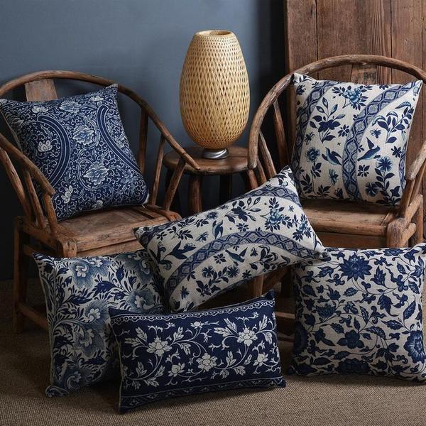 Porcelana azul y blanca de la vendimia impreso funda de cojín sofá decorativo cojín silla de coche decoración para el hogar funda de almohada almofadas