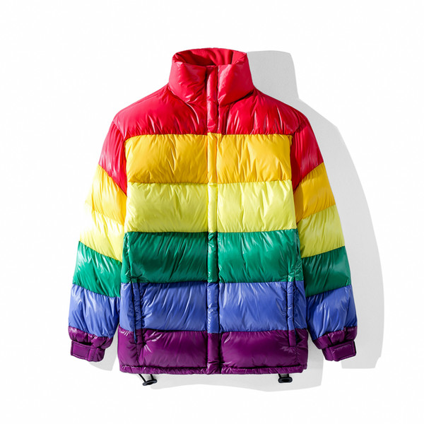 12a67714f48 Winter Men Down Jackets Rainbow Stripe Stitching Contrast Short Down Jacket  Couple Jacket Men Women With Same Paragraph Coats Size M XL Jacket Sale ...