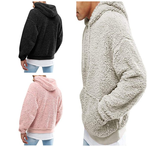 2019 Mens Sherpa Pullover Hoodies Sweater Plush Fleece Sweatshirt Coat Winter Autumn Men Hoodie Outwear Oversized Hooded Sweatshirts Top Clothing From