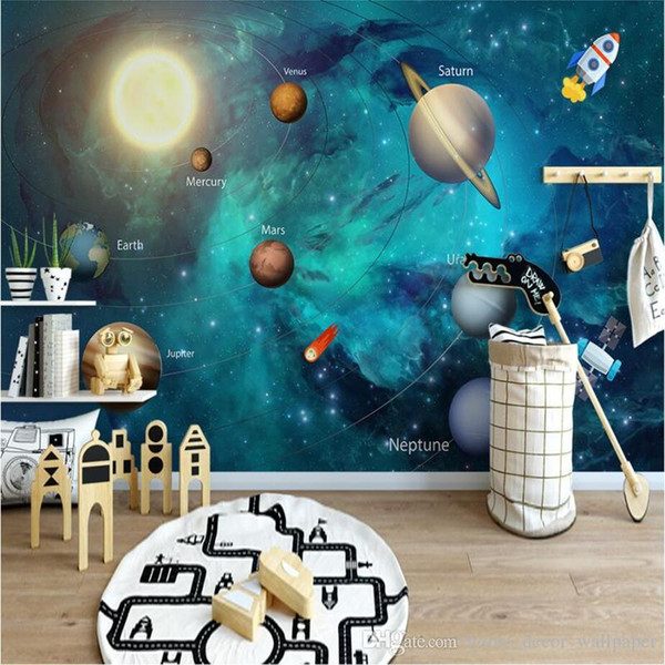 custom photo wallpaper high quality non-woven Nordic simple cartoon painting space universe children room background wall