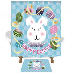 Pascua cortina de baño de baño de tela de poliéster impermeable cortina de ducha con estera conejo pintado cáscara de huevo cortinas baño herramienta GGA1531