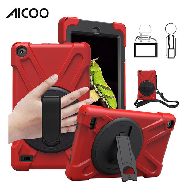 Aicoo Hybrid Shockproof Armor Holder Shoulder Belt for New iPad 9.7 2017 Air1 Mini 4 Pro11 2018 Samsung Tab A T590 T595 T387 Amazon Fire OPP