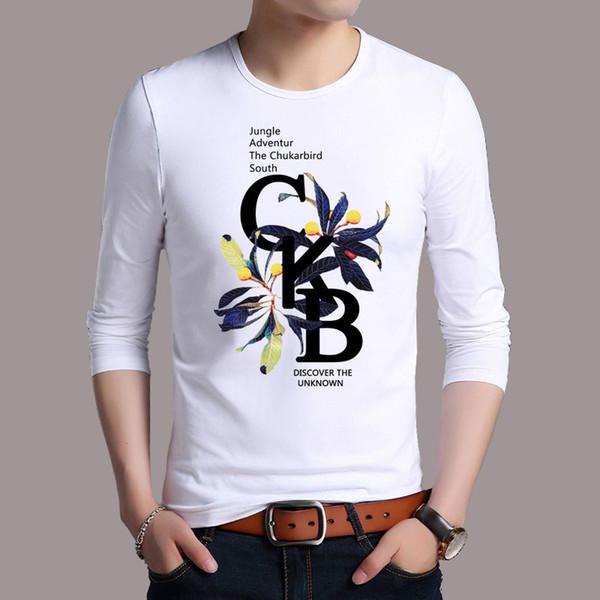 Jbersee Mens Vestuário de Impressão T-shirt Top de Moda de Manga Comprida T-shirt Dos Homens Casual Streetwear Tshirt Dos Homens T shirt Camiseta Homme