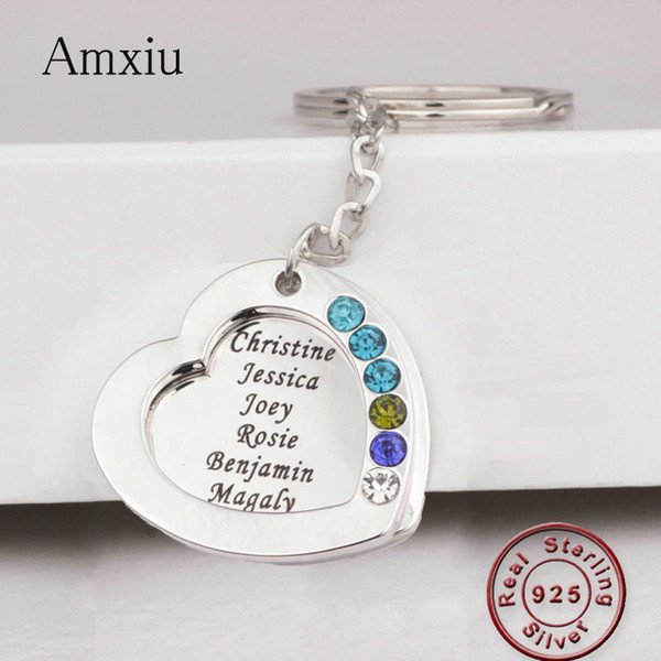 Amxiu Custom Real 925 Silver Keychains Engrave Seven Names Key Chains with Birthstones For Mom Women's Day Gift Keys Accessories