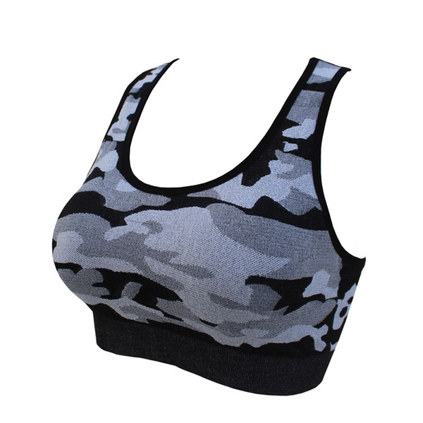 Women Hollow Sports Vest Camouflage Sports Underwear Yoga Outfits Double Shoulder Strap Quick Drying Bra Sexy Shockproof Vest