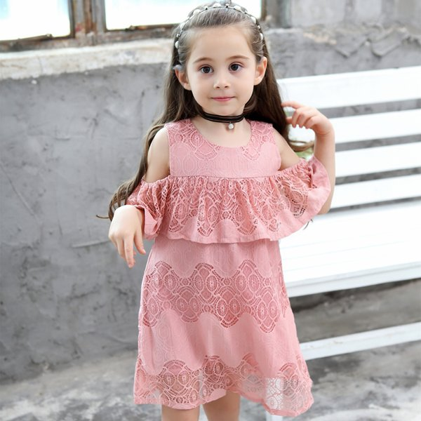Girls dresses Princess Kids party summer cotton breathable one piece hollow out lace off-shoulder short sleeve dress
