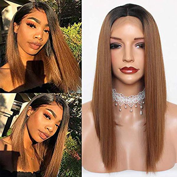 Ombre deux tons Bordeaux Gris Vert Bob synthétique perruque de cheveux Lace Front Perruques Perruques courtes de dentelle Frontal Bob perruques pour les femmes