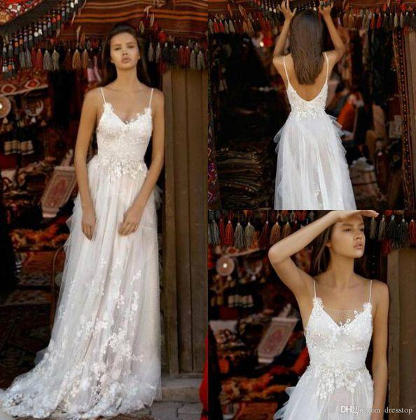 Liz Martinez 2019 Wedding Dresses Spaghetti Lace Boho Bridal Gowns With Appliques Sweep Train Backless Beach Wedding Dress Custom Made