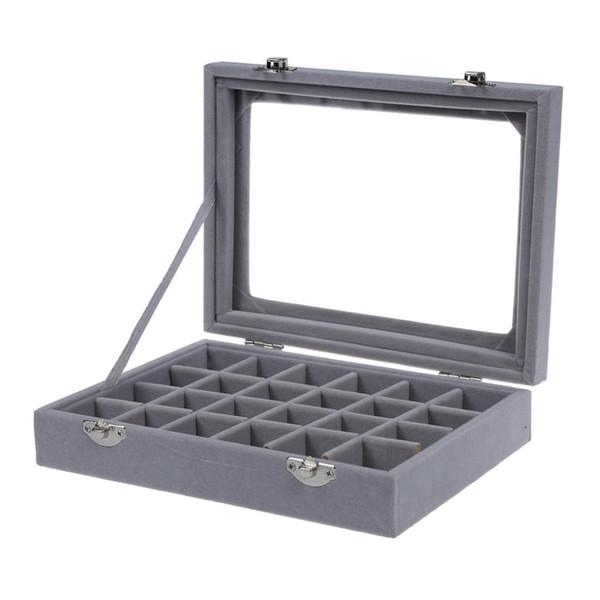 24 grade caixa de exibição de jóias de armazenamento de vidro pulseira relógio travesseiro fivela cinza