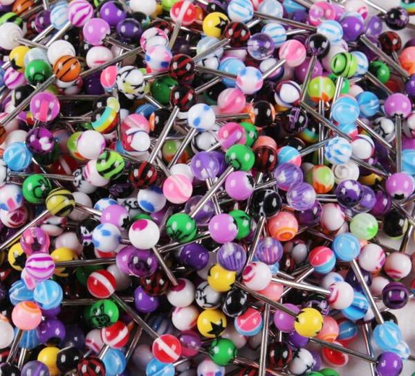 100pcs mixte couleur acrylique langue goujon anneau pour les femmes couleur de bonbon piercing langue piercing anneau goujons Barbell bijoux