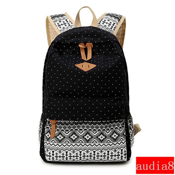 Wholesale- SUNBORLS Brand Canvas Printing Backpack Women Cute School Backpacks for Teenage Girls Vintage Laptop Bag Rucksack Bagpack Female