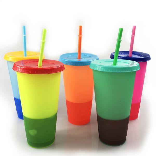 24 oz mudando de cor copos de Plástico Beber Tumblers com tampa e palha cores Doces Reutilizáveis bebidas geladas xícara de café Mágico caneca de cerveja de chá