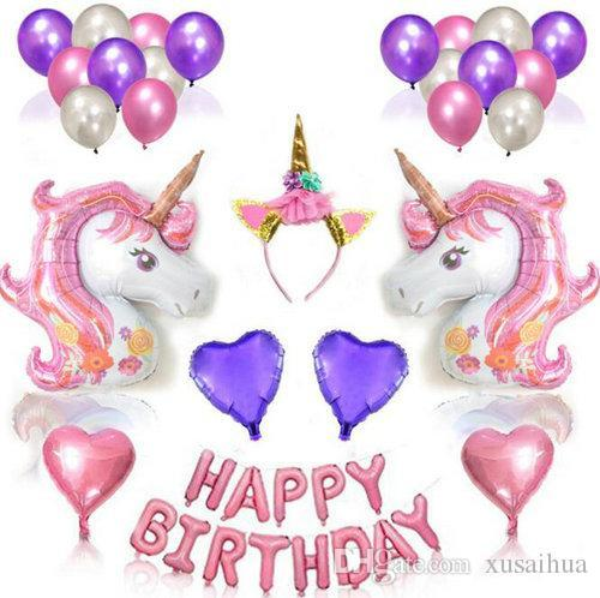 9 stili Unicorn Balloons Palloncini in lamina di colore rosa palloncino in lattice viola per Happy Birthday Party Decorations Supplies Set